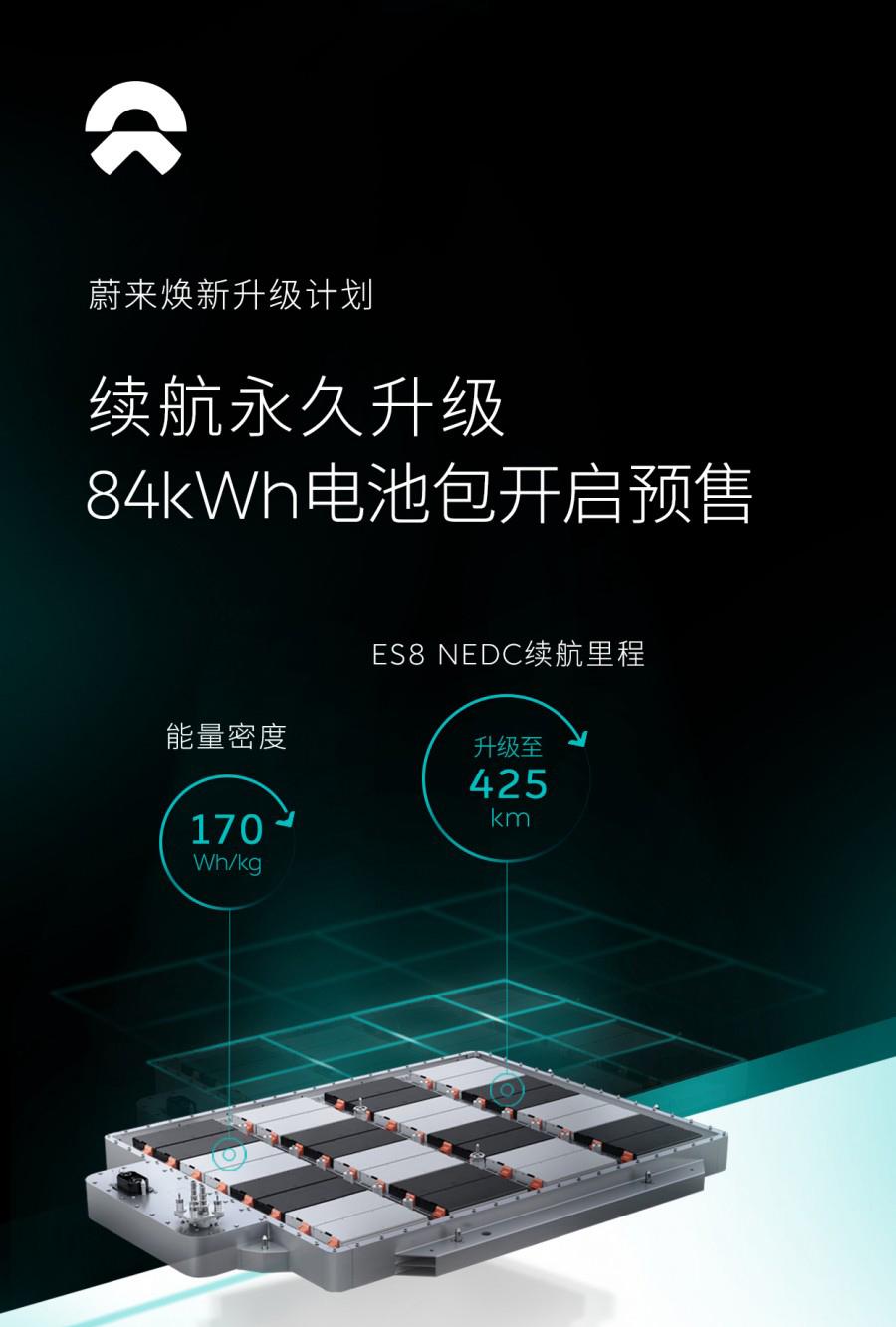 蔚来推焕新升级计划 可选84kWh电池包