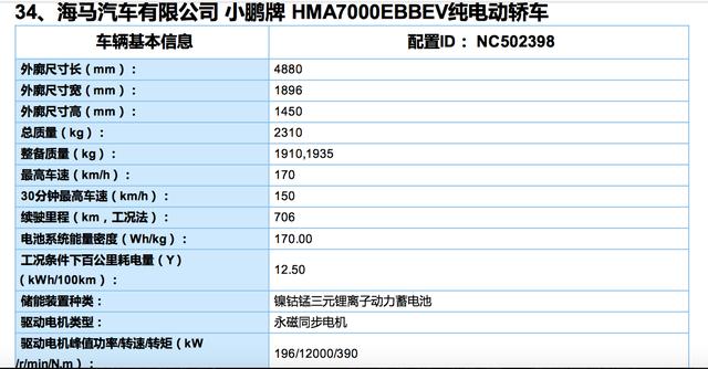小鹏P7入围工信部目录 NEDC综合续航706km